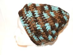 Mens Blue Slouch Hat Slouchy Cap Brown Stripe Cap by lanacooper, $22.00