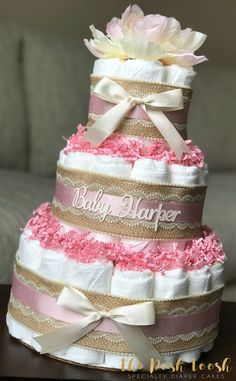 Baby Shower Gifts Floral Diaper Cake Baby Shower Centerpiece by ThePoshToosh on Etsy Idee Baby Shower, Unique Baby Shower, Baby Shower Diapers, Baby Shower Cakes, Baby Shower Parties, Baby Boy Shower, Baby Shower Gifts, Baby Shower Centerpieces, Baby Shower Decorations