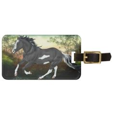 Black and White Paint Horse Running Bag Tag