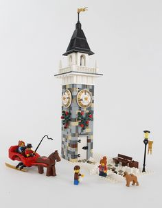 Based on the clock tower in Wellesley, MA this was about falling in love when it's winter time; winter sleigh rides, teenagers having a snowball fight, good. Lego Christmas Village, Lego Winter Village, Lego Gingerbread House, Casa Lego, Lego Projects, Brick Projects, Used Legos, Lego Club, Lego Blocks