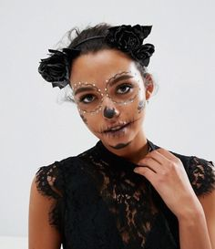 Buy ASOS Halloween Faux Leather Floral Garland Headband at ASOS. Get the latest trends with ASOS now. Costume Halloween, Cool Halloween Makeup, Pretty Halloween, Halloween 2017, Halloween Outfits For Women, Costumes For Women, Day Of The Dead Costume Dress, Sugar Skull Makeup, Floral Garland