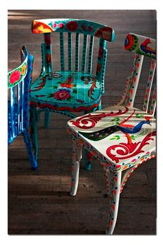Tales Plumo Chairs -Folk Tales - Home Accessories and Home Furnishings (.uk)Plumo Chairs -Folk Tales - Home Accessories and Home Furnishings (. Hand Painted Chairs, Hand Painted Furniture, Funky Furniture, Furniture Makeover, Home Furniture, Furniture Design, Wooden Chairs, Furniture Ideas, Repurposed Furniture