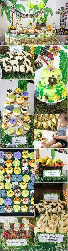 Safari / Jungle Themed First Birthday Party - Dessert Ideas. Great for a Baby Shower Too! Jungle Cake, Smash Cake, Jungle Animal Cupcakes & Toppers, Palm Tree / Elephant / Giraffe Cookies, Banana Pudding, Berries, Bananas