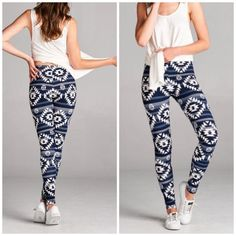 Tribal Print Navy and Ivory Leggings Stunning tribal print in navy and Ivory color. Perfect to pair with a tunic or tank. Made of polyester/ spandex blend. Bchic Pants Leggings