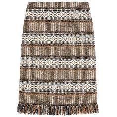 Tory Burch Kendra Skirt ($395) ❤ liked on Polyvore featuring skirts, brown diamond fringe tweed, knee length pencil skirt, brown skirt, textured skirt, harlequin skirt and tweed skirt