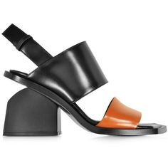 Marni Colorblock Leather Mid-heel Sandal (11 315 UAH) ❤ liked on Polyvore featuring shoes, sandals, orange, block-heel sandals, heeled sandals, color block sandals, leather sandals and orange shoes