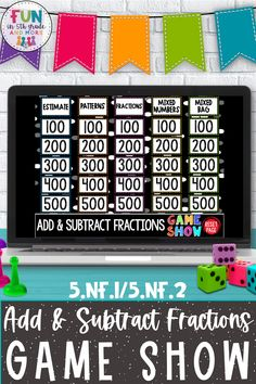 Are you looking for something to make math review days exciting? This add & subtract fractions game show will have your students cheering on review days! This PowerPoint or Google game show is a great whole class review activity. Great for test prep activity! Your students will love this and be challenged and engaged- a win-win for everyone! Fun Math Games, Vocabulary Games, Classroom Games, Cause And Effect Games, Context Clues Games, Math Websites, Fraction Games, Nonfiction Text Features, Fact And Opinion
