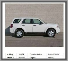 2009 Ford Escape XLS SUV    Multi-Link Rear Suspension, Tires: Speed Rating: T, Tires: Prefix: P, Independent Rear Suspension, Body-Colored Bumpers, Dual Vanity Mirrors, Passenger Airbag, Cruise Control, Tilt-Adjustable Steering Wheel, Tire Pressure Monitoring System, Rear Shoulder Room: 55.9, Stability Control With Anti-Roll Control, Diameter Of Tires: 16.0, Remote Power Door Locks, Front Ventilated Disc Brakes,