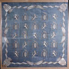 Vintage Hermes scarves - Extremely rare framed Hermes Jacquard silk scarf