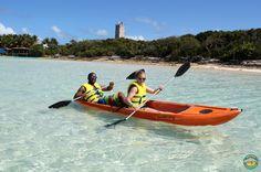 Kayaking in the beautiful lagoon! Dolphin Encounters, Blue Lagoon Island, Bahamas