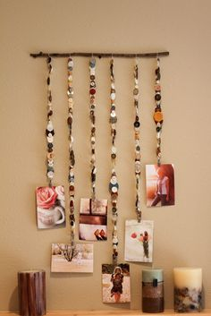 Cute way to display photos...  and use your old buttons!    http://www.cottagearts.net/blog/?p=6427