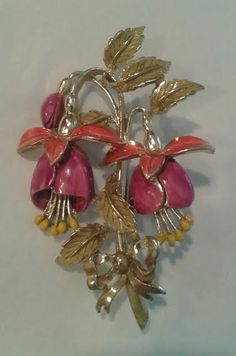 Vintage Floral Brooch signed Exquisite. Made in the UK in the early 50's. Hand Painted Enamel. Birthday series Fuchsia.
