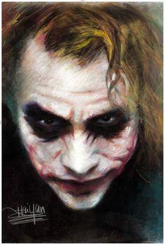 Dark Night Joker pastel painting by artist Haiyan by poppicture Joker Poster, 3d Poster, Poster Prints, Poster Wall, Old Joker, Heath Ledger Joker, Joker Pics, Michael Jackson, In The Pale Moonlight