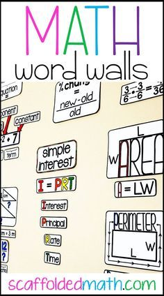 Math word wall ideas for elementary school, middle school and high school math. Includes links to FREE math word wall references for teaching math voc Math Teacher, Teaching Math, Math Math, Math Vocabulary Wall, Teaching 6th Grade, Multiplication Games, Math Fractions, Math Classroom Decorations, Science Classroom