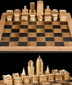 Chess Set by Steve Vigar Designs: Crafted from wood, the pieces feature skylines and residential architectural styles. ($2,100)
