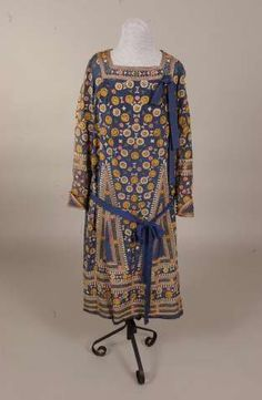Machine-embroidered blue silk dress, American, 1924-1930.