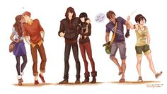 Aang and Katara on far left, Zuko and Mai in middle, and Sokka and Toph on the right.