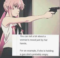Puedes saber mucho sobre las mujeres mirando lo que tienen en la mano Por ejemplo, si tiene un arma probablemente este enojada