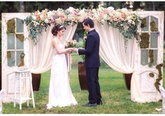 Use the draping from the chuppah on the freestanding doors.