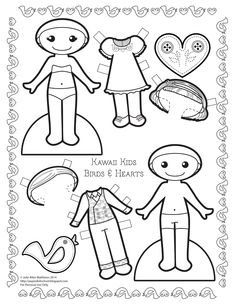 Kawaii Kids Birds & Hearts black and white paper doll to color!