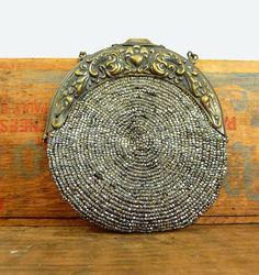 antique beaded purse - victorian art nouveau chatelaine - micro bead bag
