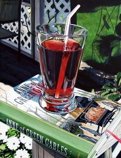 Raspberry Cordial with Anne Shirley by Alvin Richard World Of Color, Color Of Life, Raspberry Cordial, Still Life Artists, Candy Crush Saga, Hyper Realistic Paintings, Anne Shirley, Painting Still Life, Anne Of Green Gables