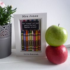 For crayon out loud this is the coolest teacher gift around!!!! These frames were a best seller of mine last year and the teachers that received them loved them! Each 6x4 frame is personalised with the teachers name and your childs. I can change the wording inside the box if it is for a teachers assistant, nursery etc. I have done many custom orders for these. It is a great gift from an individual pupil but can also be from the class e.g Love the class of 2015-2016. I have two cards in…