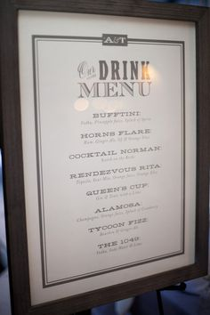 Printable Drink Menu Card Diy Wedding Reception Drinks Cocktails