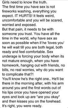 If he loves you, he can wait until you're legal/till more than a few weeks have elapsed in your relationship. Freaky Relationship Goals, Relationship Quotes, Relationships, Freaky Quotes, True Quotes, Random Quotes, Minions, Wise Words, Thoughts