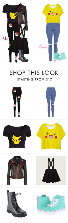 """My Style Vs. Sadie's: Pikachu"" by lifesucks-musichelps ❤ liked on Polyvore featuring Topshop, Boutique Moschino, Abercrombie & Fitch and Vans"