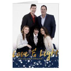 Love & Light | Faux Foil Lovely Bokeh Hanukkah Card - light gifts template style unique special diy