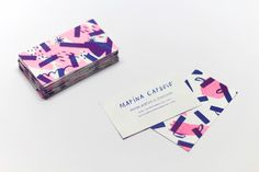 """Personal Business Cards by Marina Cardoso """"Risograph business cards printed in 2 colors by Selva Press."""" Marina Cardoso is a freelance illustrator and designer based in Vitória, Brazil. She is focused on print design, graphic design, branding. Metal Business Cards, Vintage Business Cards, Professional Business Cards, Business Card Design, Blog Design Inspiration, Graphic Design Illustration, Visual Identity, Bamboo Tablet, Wacom Bamboo"""