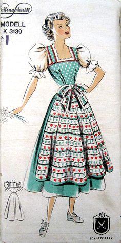 Bettina Schnitt K 3139 (c.1950s) peasant girl color illustration print ad dress day wear German Austrian Octoberfest dirndl like puff sleeve shirt apron polka dots floral green blue white red bow pinafore