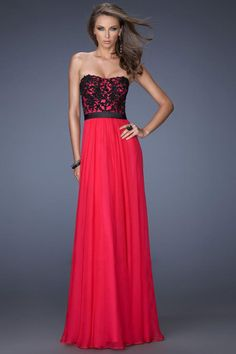 2014 Strapless A Line Floor Length Dress With Black Applique And Sash Pick Up Shirred Chiffon Skirt
