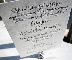 #Traditional calligraphy wedding invitations get a fresh update and a dash of dazzling letterpress with Modern Calligraphy by Debi Zeinert.