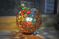 NEW Bubble Lamp Colors of Nature  stained glass by ABJglassworks, $350.00