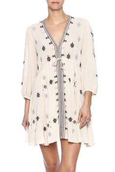 Strut yourself in this Free People flirty dress. Featuring an embroidered print v-neck high waist and 3/4 sleeves.  Star Gazzer Dress by Free People. Clothing - Dresses - Printed Clothing - Dresses - Short Sleeve Clothing - Dresses - Casual Georgia