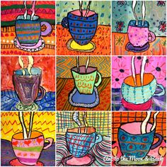 Second graders learned how to use an ellipse to create the opening of a container such as a cup. We sketched our cups in pencil first and p. Tea Cup Art, Coffee Cup Art, Winter Art Projects, School Art Projects, Drawing For Kids, Art For Kids, Drawing Ideas, Tee Kunst, 2nd Grade Art