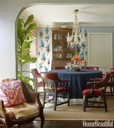 Mackay Boynton    A wall of antique Chinese porcelain birds atop vintage gilded wall brackets are a wonderful focal point in this eclectic...