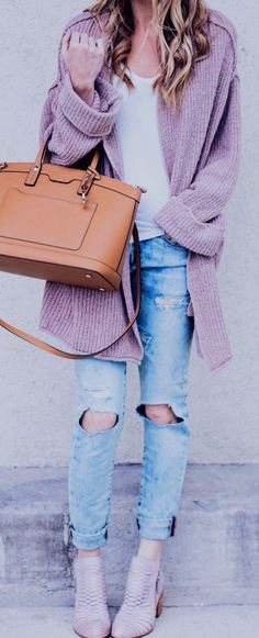 #spring #fashion / Purple Cardigan / White Tee / Camel Leather Tote Bag / Destroyed Denim / Grey Booties