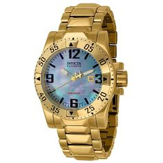 Invicta 6244 Men's Excursion Reserve Mother of Pearl Dial Gold Plated Steel Dive Watch