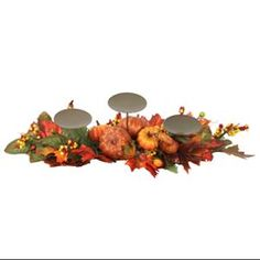 """$18.99  24"""" Fall Traditions Pumpkin, Gourd and Berry Thanksgiving Pillar Candle Holder"""