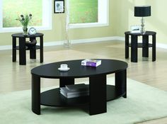 Cherry Contemporary Oval Cocktail Table