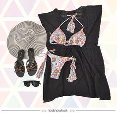 Look de Verão! #moda #modapraia #beachwear #blueman #salinas #biquíni #kaftan #chapéu #rasteirinha #óculos #praia #piscina #verão #look #outfit #compreonline #shop #loja #lnl #looknowlook
