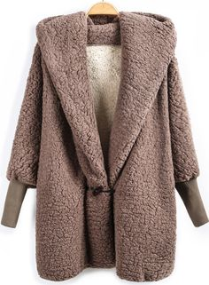 Abrigo suelto con capucha manga larga-marrón 23.23