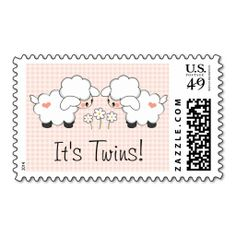 Lamb Twin Girls Baby Shower Postage Stamps Pink