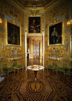 Conference Room at the Royal Castle in Warsaw, constructed for Stanislaus Augustus in 1760s by Jakub Fontana with orginal portraits representing contemporary monarchs of Europe (including Louis XVI of France by Alexander Roslin, George III of the United Kingdom by Thomas Gainsborough and Pope Pius VI by Pompeo Batoni among others).