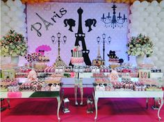 Ideas, decoración y manualidades para fiestas: Fiesta temática de Barbie moda en París