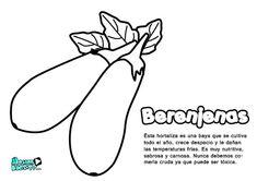 Dibujos colorear para niños, berenjenas. Educativos frutas y verduras