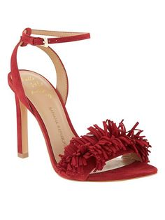 In love with these red suede fringe sandals. These heels will spice up your street style in no time | Banana Republic